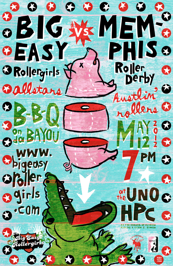 Big Easy Rollergirls/ Memphis bout poster