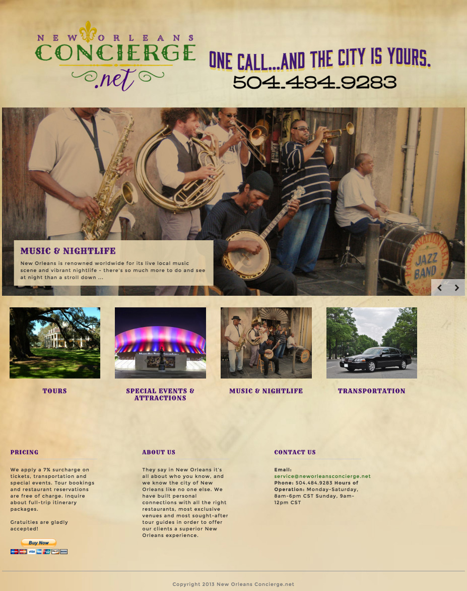 New Orleans Concierge website