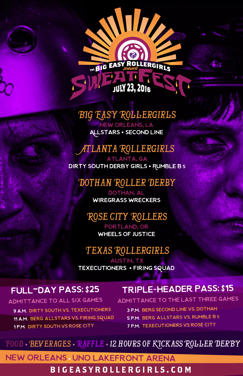 Big Easy Rollergirls SweatFest 2016 Poster